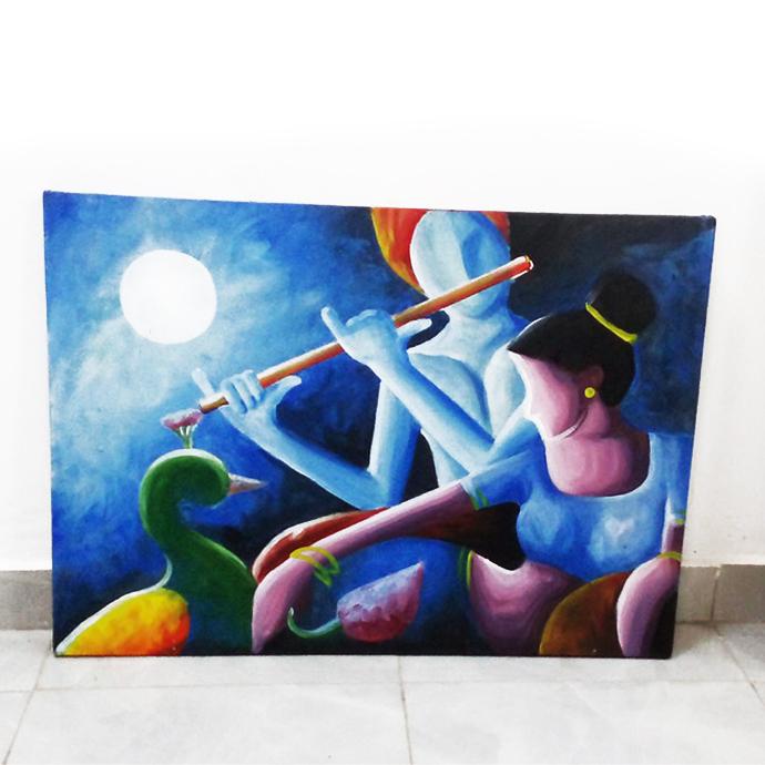 Acrylic painting on canvas lord krishna 20 x 28